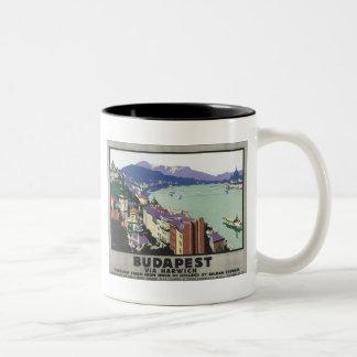 Budapest Via Harwich Vintage Travel Poster Two-Tone Coffee Mug
