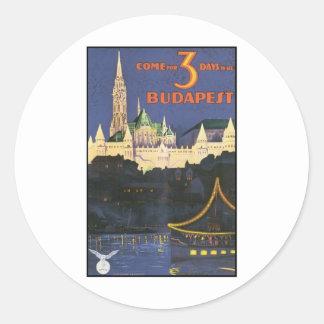 Budapest Vintage Travel Poster Round Sticker