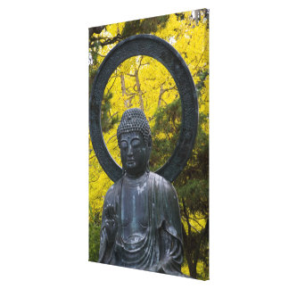 Budda Statue in the Japanese Gardens Golden Stretched Canvas Print