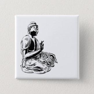 buddha 15 cm square badge