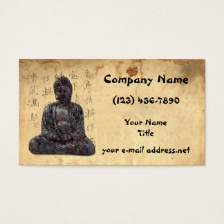 Buddha Aged Paper Asian Calligraphy Business Card