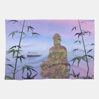 buddha and sky blue tea towel