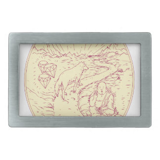 Buddha and Wolf on Road Diamonds Drawing Belt Buckle