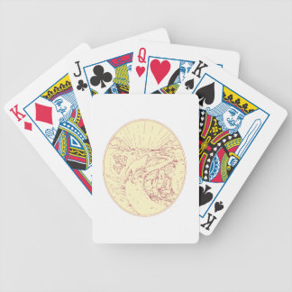 Buddha and Wolf on Road Diamonds Drawing Bicycle Playing Cards