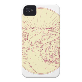 Buddha and Wolf on Road Diamonds Drawing iPhone 4 Case-Mate Case