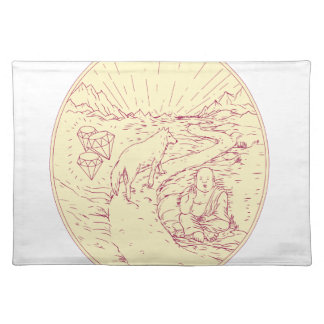 Buddha and Wolf on Road Diamonds Drawing Placemat