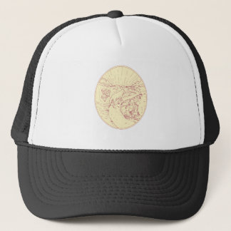 Buddha and Wolf on Road Diamonds Drawing Trucker Hat