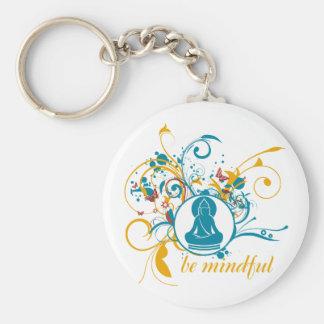 Buddha Be Mindful Basic Round Button Key Ring