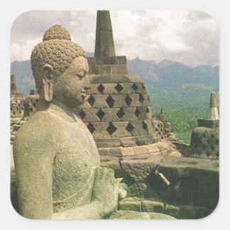 Buddha bell statue, Borobodur temple, Java Square Sticker
