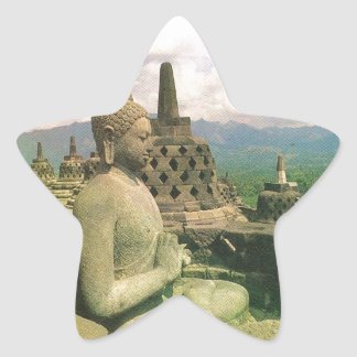 Buddha bell statue Borobodur temple Java Star Sticker