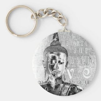 Buddha Blessing Basic Round Button Key Ring