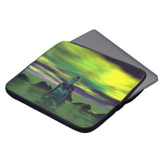 buddha blue and sky green laptop sleeve