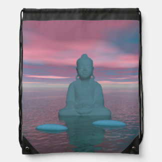 buddha blue and steps grey drawstring bag
