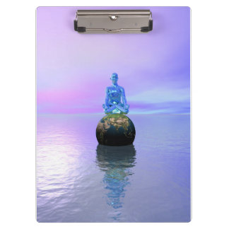 buddha blue and world clipboard