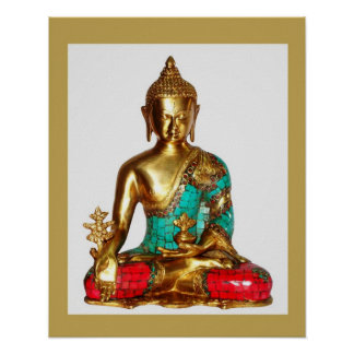 BUDDHA Brass Painted Sitting Position   MEDITATION Poster