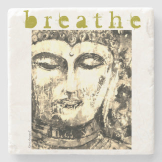 Buddha Breathe Watercolor Art Stone Coaster