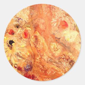 Buddha by Symbolist Painter Odilon Redon Round Sticker