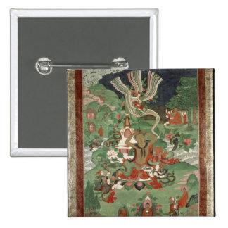 Buddha cutting a tuft of hair 15 cm square badge