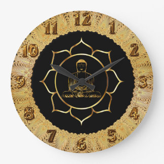 Buddha doing yoga meditation spiritual design large clock