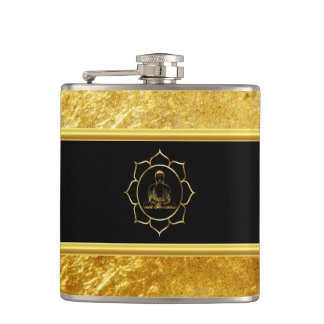 Buddha doing yoga meditation spiritual gold foil hip flask