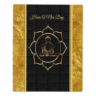 Buddha doing yoga meditation spiritual gold foil jigsaw puzzle