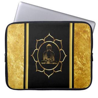 Buddha doing yoga meditation spiritual gold foil laptop sleeve