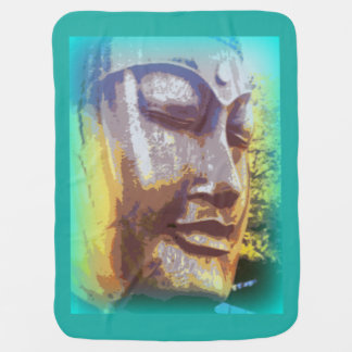 buddha face green receiving blanket