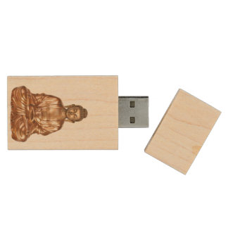Buddha Flash Drive Wood USB 2.0 Flash Drive