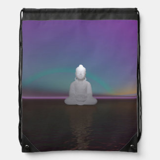 buddha green and black drawstring bag