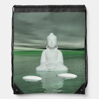 buddha green  and steps white drawstring bag