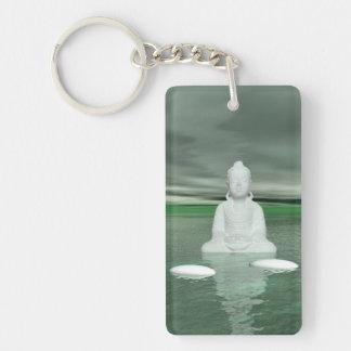 buddha green  and steps white key ring