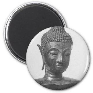 Buddha Head - 15th century - Thailand 6 Cm Round Magnet
