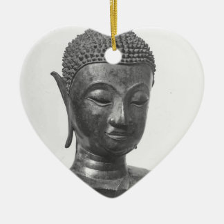 Buddha Head - 15th century - Thailand Ceramic Heart Decoration