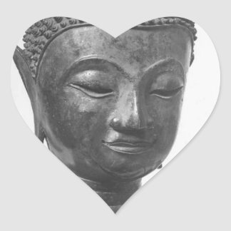 Buddha Head - 15th century - Thailand Heart Sticker