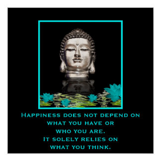 Buddha Head with Inspirational Quote on Happiness Poster