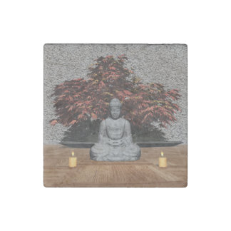 Buddha in a room - 3D render Stone Magnet