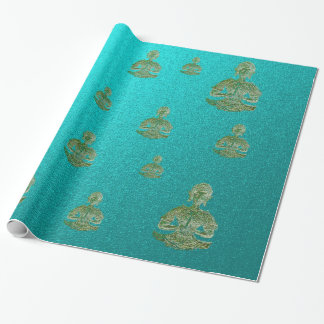 buddha in blue wrapping paper