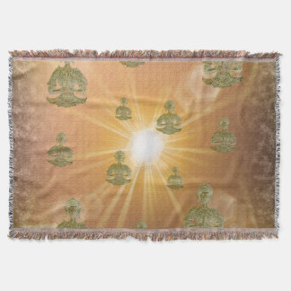 buddha in clouds in digital color throw blanket
