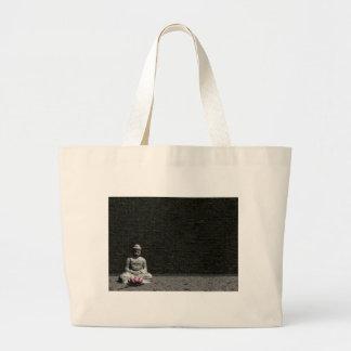 Buddha in grey room - 3D render Large Tote Bag