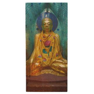 Buddha In Ornate Alcove Wood USB Flash Drive