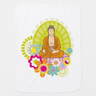 Buddha in Spring Flowers Baby Blanket
