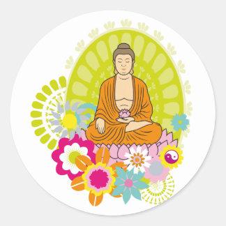 Buddha in Spring Flowers Classic Round Sticker