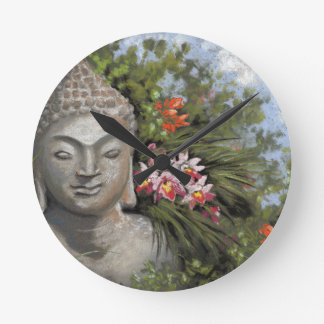 Buddha in the Jungle Round Clock