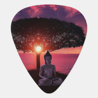 Buddha in the Red Evening Sky Plectrum