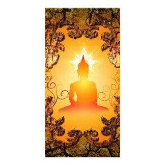 Buddha in the sunset customised photo card
