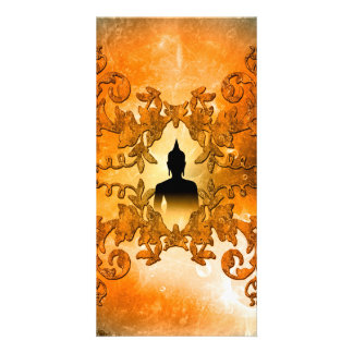 Buddha in the sunset photo greeting card