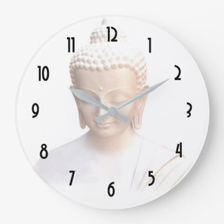 Buddha In White | Serene Meditative And Calm Large Clock