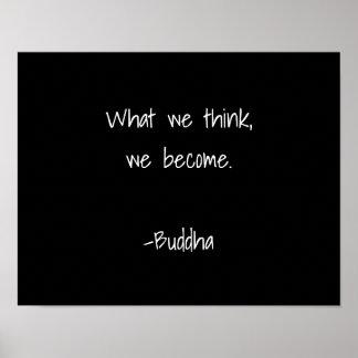 Buddha Inspirational Quote White Typography Black Poster