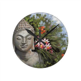 Buddha & Jungle Flowers Round Clock