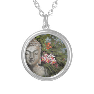 Buddha & Jungle Flowers Silver Plated Necklace